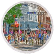 Round Beach Towel featuring the photograph July 4th Color Guard by Trey Foerster