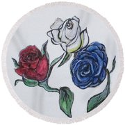 July 4th Roses Round Beach Towel