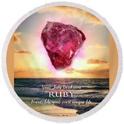 July Birthstone Ruby Round Beach Towel