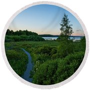 July Sunset At The Lake Enajarvi Round Beach Towel