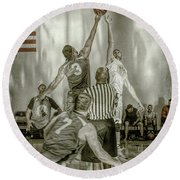 Round Beach Towel featuring the photograph Jump Ball by Ronald Santini