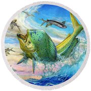 Jumping Mahi Mahi And Flyingfish Round Beach Towel