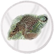 Pouncing Ocelot Round Beach Towel