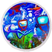 Round Beach Towel featuring the painting Jumping Through Tv Land by Genevieve Esson