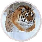 Jumping Tiger Round Beach Towel