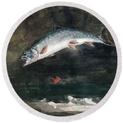 Jumping Trout Round Beach Towel