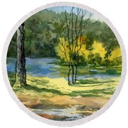 Junction Of White And Spring Rivers Round Beach Towel
