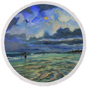 June Afternoon Tidepool Round Beach Towel