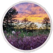 June Color At The Rimrocks Round Beach Towel