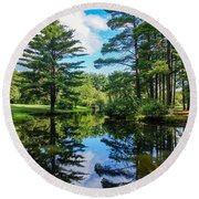 Round Beach Towel featuring the photograph June Day At The Park by Kendall McKernon