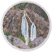 June Lake Loop Falls Round Beach Towel