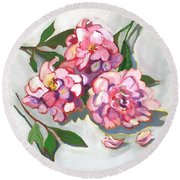 June Peonies Round Beach Towel
