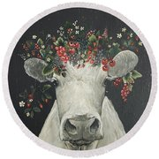 June The Berry Cow Round Beach Towel