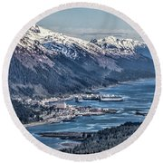 Juneau From Above Round Beach Towel by Shirley Mangini