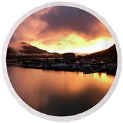 Juneau Sunset Round Beach Towel