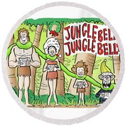 Jungle Bells Round Beach Towel