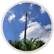 Round Beach Towel featuring the photograph Jungle Bungee Tower by Francesca Mackenney