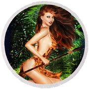 Jungle Girl Round Beach Towel