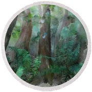 Round Beach Towel featuring the painting Jungle by Ivana Westin