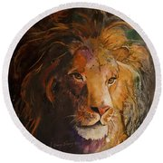Jungle Lion Round Beach Towel