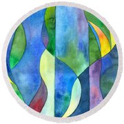 Jungle River Abstract Round Beach Towel