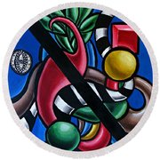 Original Colorful Abstract Art Painting - Multicolored Chromatic Artwork Round Beach Towel