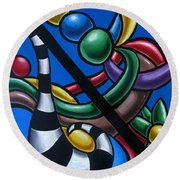 Original Colorful Abstract Art Painting - Multicolored Chromatic Artwork Painting Round Beach Towel