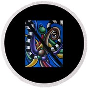 Jungle Stripes 2, Colorful Chromatic Abstract Artwork Round Beach Towel