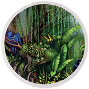 Jungle Talk Round Beach Towel