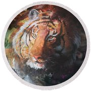 Round Beach Towel featuring the painting Jungle Tiger by Sherry Shipley