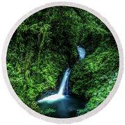 Jungle Waterfall Round Beach Towel