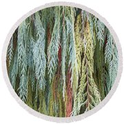 Round Beach Towel featuring the photograph Juniper Leaves - Shades Of Green by Ben and Raisa Gertsberg