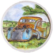 Junk Car And Tree Round Beach Towel by Clyde J Kell