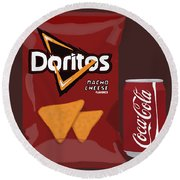 Junk Food Still Life Round Beach Towel