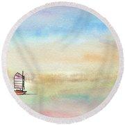 Junk Sailing Round Beach Towel