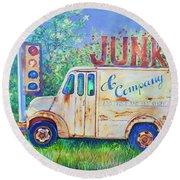 Junk Truck Round Beach Towel