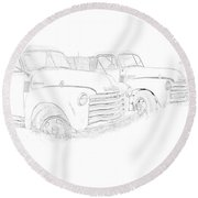 Junkyard Finds Round Beach Towel by Jeffrey Jensen