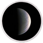Round Beach Towel featuring the photograph Juno Closing In On Jupiter's North Pole by Nasa