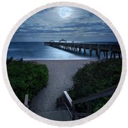 Juno Pier Stairs To Beach Under Full Moon Round Beach Towel