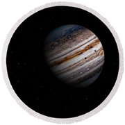 Jupiter And It 4 Major Moons Round Beach Towel