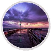 Jupiter Inlet Jetty Round Beach Towel