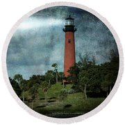 Jupiter Lighthouse-2a Round Beach Towel