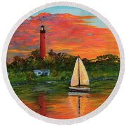 Jupiter Lighthouse Sunrise Alt Round Beach Towel