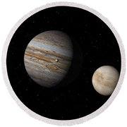 Jupiter With Io And Europa Round Beach Towel