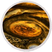 Jupiter's Storms. Round Beach Towel