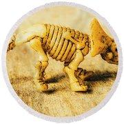 Jurassic Toy Triceratops Round Beach Towel