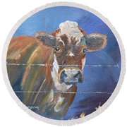 Round Beach Towel featuring the painting Just A Big Happy Cow On A Little Square Canvas by Jan Dappen