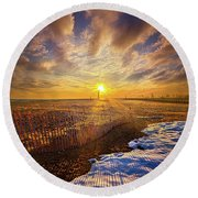 Round Beach Towel featuring the photograph Just A Bit More To Go by Phil Koch