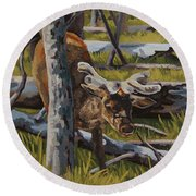 Round Beach Towel featuring the painting Just A Peek by Erin Fickert-Rowland