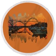 Just After Sunset On Yaquina Bay Round Beach Towel